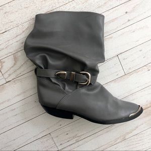 VINTAGE 1980s Slouchy Western Buckle Ankle Boots